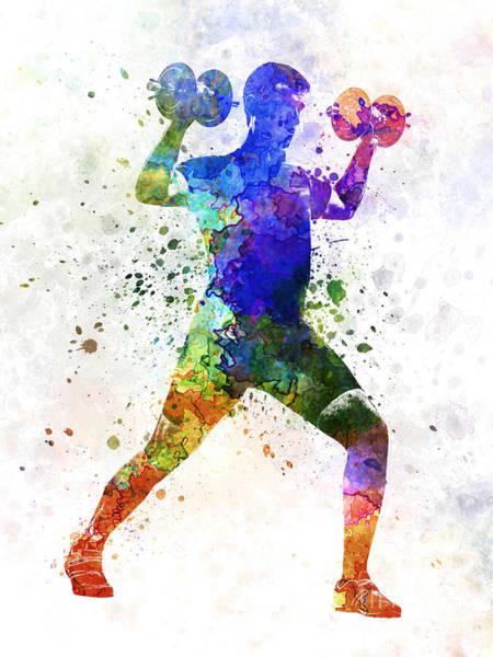 Wall Art - Painting - Man Exercising Weight Training by Pablo Romero