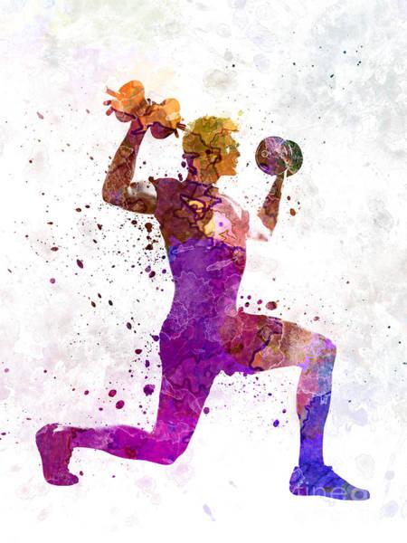 Man Exercising Weight Training Workout Fitness Art Print