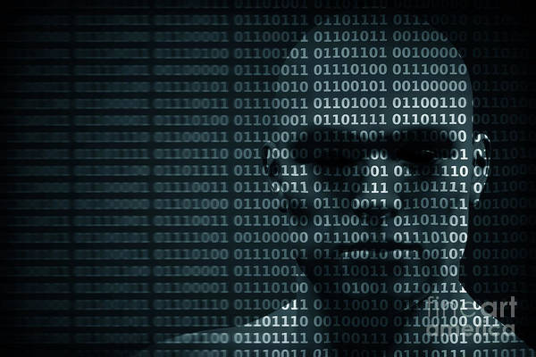 Malware Photograph - Man Face Blended With Binary Code Digits. Concept Of Hacker, Data Protection Etc. by Michal Bednarek