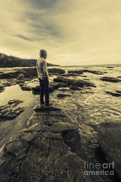 Photograph - Man Gazing Out On Coastal Rocks by Jorgo Photography - Wall Art Gallery