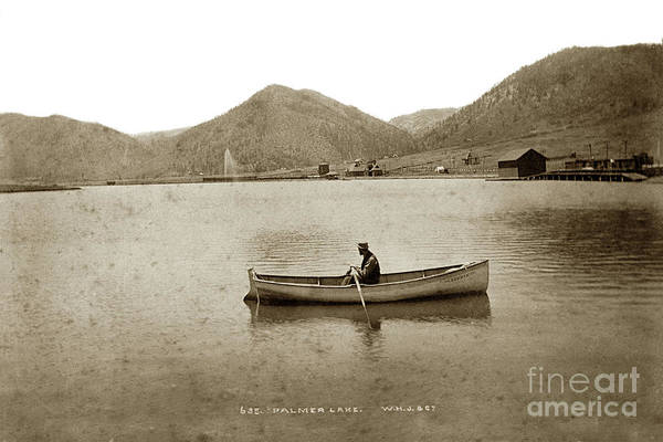El Paso County Photograph - Man In A Row Boat Named Lizzie On Palmer Lake On The Colorado Di by California Views Archives Mr Pat Hathaway Archives