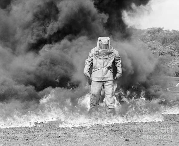 Wall Art - Photograph - Man In Asbestos Suit Standing by Debrocke/ClassicStock