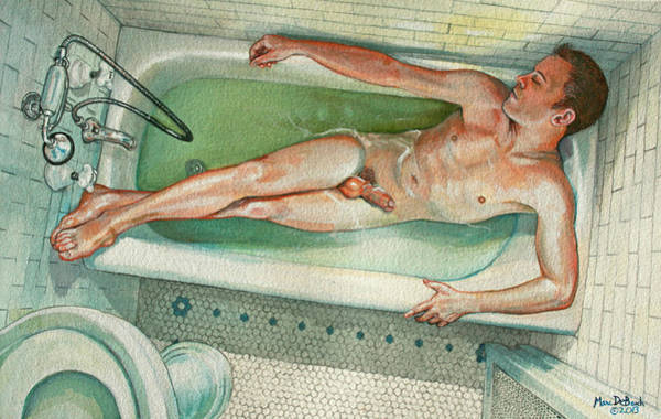 Painting - Man In Bathtub #2 by Marc  DeBauch
