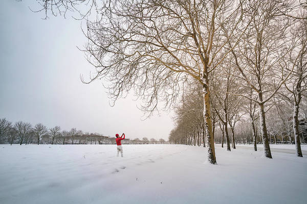 Biota Photograph - Man In Red Taking Picture Of Snowy Field And Trees by William Freebilly photography