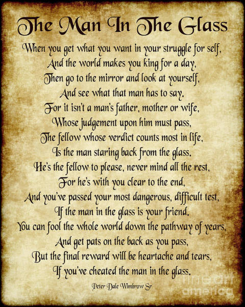 Wall Art - Digital Art - The Man In The Glass Poem - Antique Parchment by Ginny Gaura