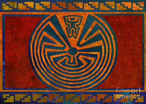 Petroglyphs Digital Art - Man In The Maze by Linda Henry