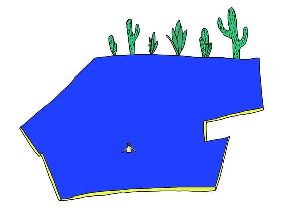 Water Plant Digital Art - Man In Water by Olivia Domingos