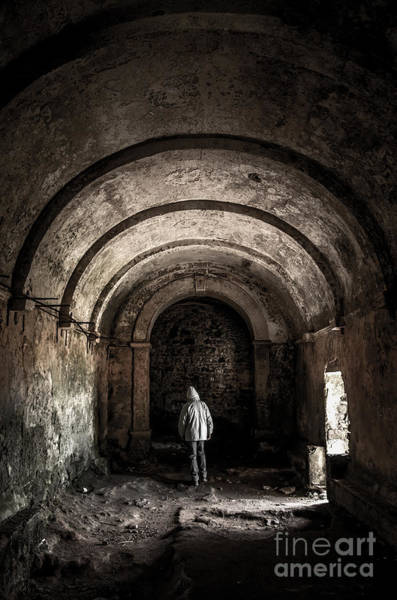 Smashed Photograph - Man Inside A Ruined Chapel by Carlos Caetano