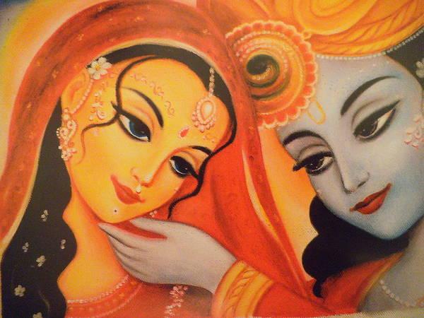 Wall Art - Painting - Man Lila - Radha And Krishna by Alexandra Bilbija