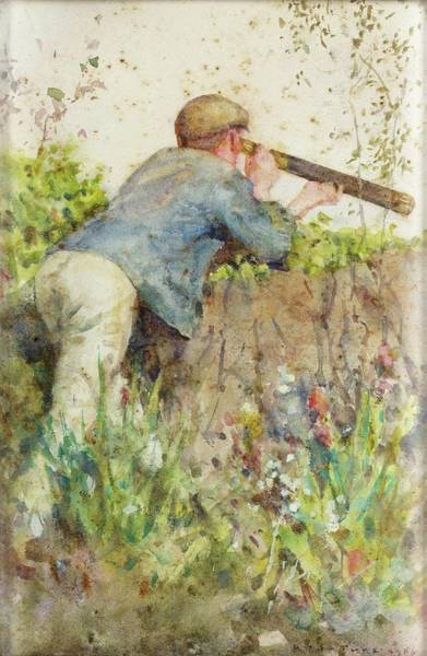 Painting - Man Looking Through A Telescope by Henry Scott Tuke