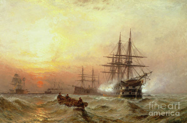 Wall Art - Painting - Man-o-war Firing A Salute At Sunset by Claude T Stanfield Moore