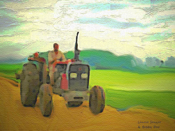 Farm Landscape Mixed Media - Man On A Tractor by Lenore Senior