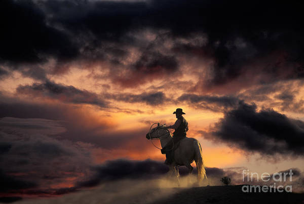 Stormcloud Photograph - Man On Horseback by Ron Sanford and Photo Researchers