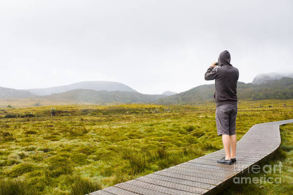 Hoodie Photograph - Man On Trekking Holiday Taking Phone Photograph by Jorgo Photography - Wall Art Gallery