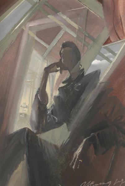Painting - Man Portrait In Window Reflection by Igor Sakurov