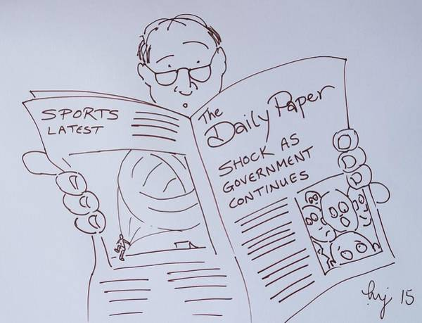 Drawing - Man Reading A Newspaper Cartoon - What Is The World Coming To by Mike Jory