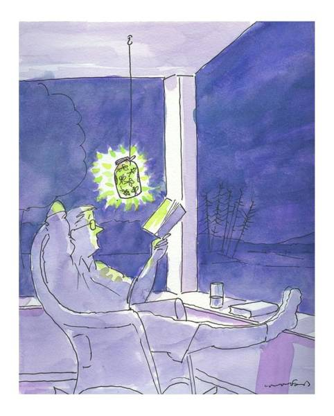 Book Drawing - Man Reads By The Light Of Fireflies. by Michael Crawford