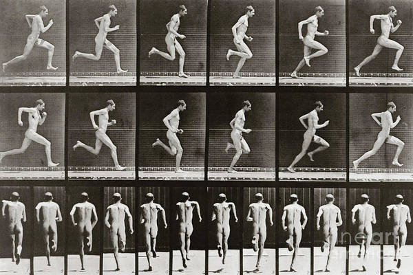 Sequence Photograph - Man Running, Plate 62 From Animal Locomotion, 1887 by Eadweard Muybridge