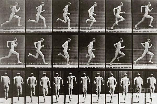 Wall Art - Photograph - Man Running, Plate 62 From Animal Locomotion, 1887 by Eadweard Muybridge
