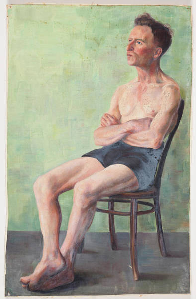 Untitled Painting - Man Seated On A Chair by Elizabeth Berry