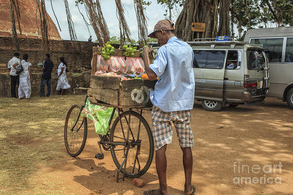 Bicycle Rack Photograph - Man Selling Citrus Fruit by Patricia Hofmeester