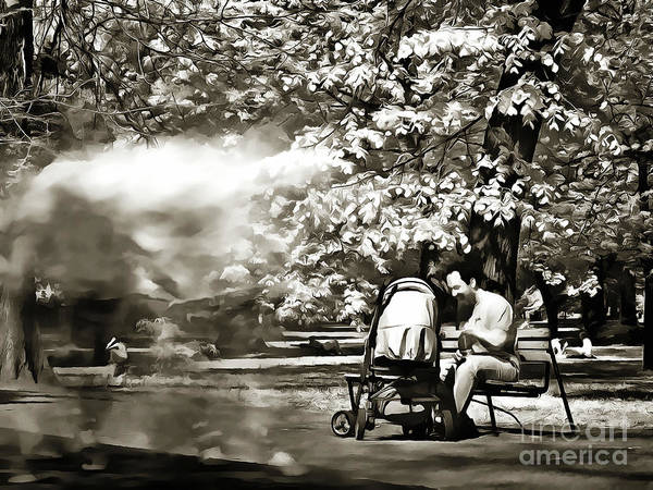 Painting - Man Strollers In The Park by Odon Czintos