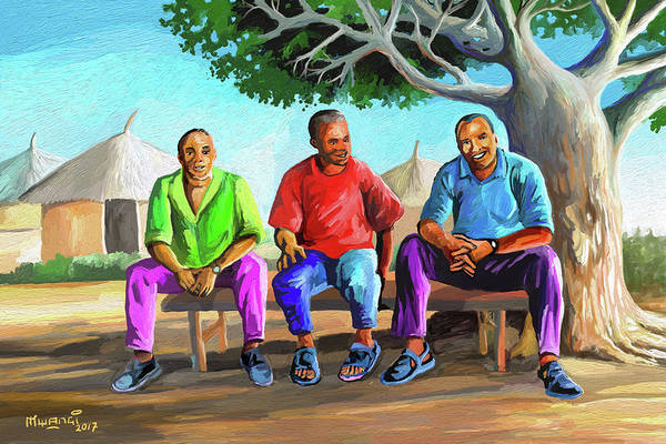 Rasta Painting - Man Talk by Anthony Mwangi