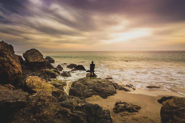 Man Watching Sunset In Malibu Art Print