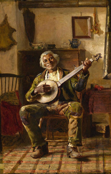 Wall Art - Painting - Man With Banjo by Thomas Hovenden