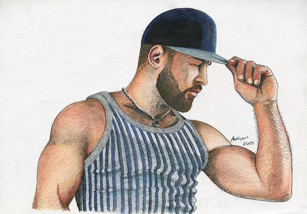 Moustache Mixed Media - Man With Baseball Cap by Anti Quos
