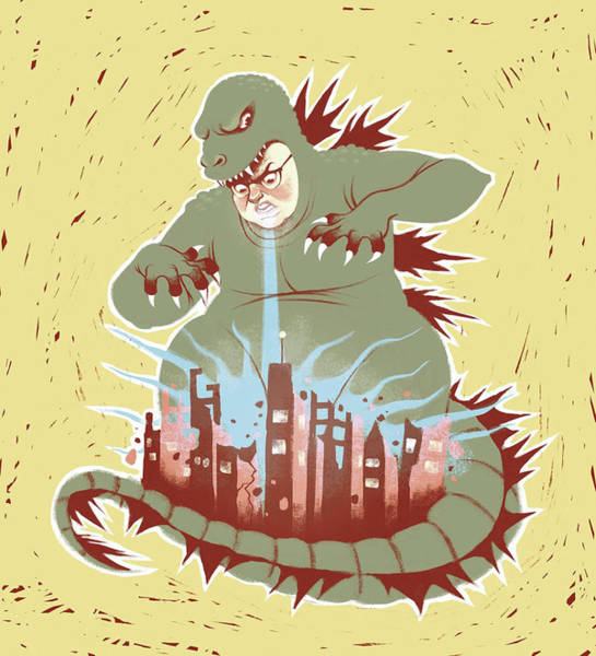 Adult Drawing - Man With Dragon Costume Destroying City by Stephanie Pena