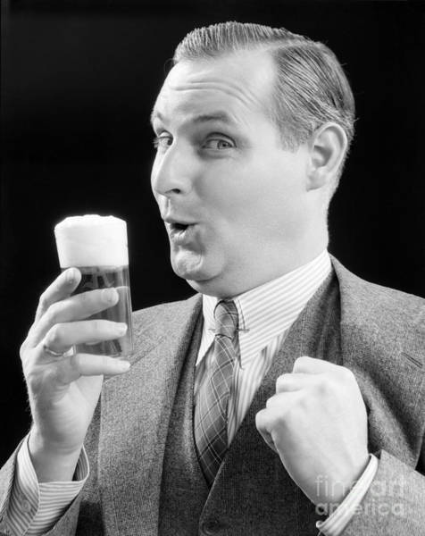 Endorsement Photograph - Man With Glass Of Beer, C.1930s by H. Armstrong Roberts/ClassicStock