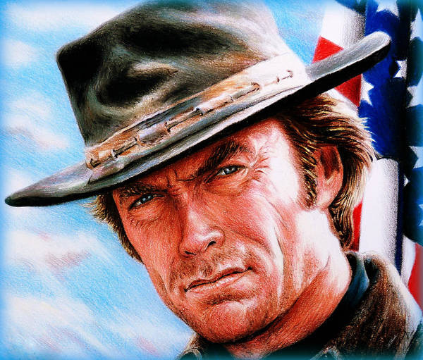 Clint Eastwood Drawing - Man With No Name Colour by Andrew Read