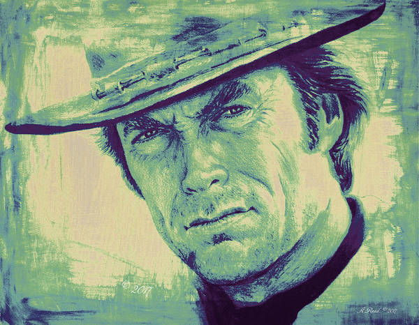 Clint Eastwood Drawing - Man With No Name Colour Splash by Andrew Read