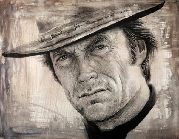Clint Eastwood Drawing - Man With No Name Sepia Splash by Andrew Read