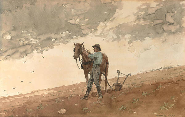 Painting - Man With Plow Horse by Winslow Homer