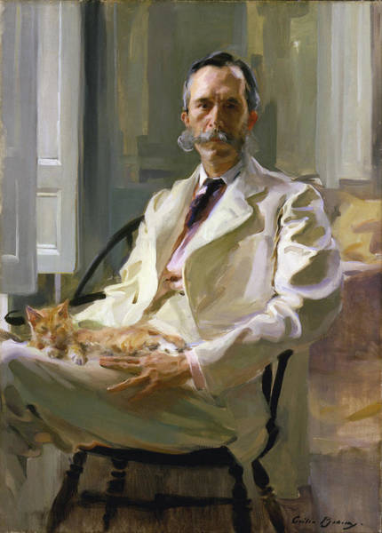 Wall Art - Painting - Man With The Cat Portrait Of Henry Sturgis Drinker 1898 by Cecilia Beaux