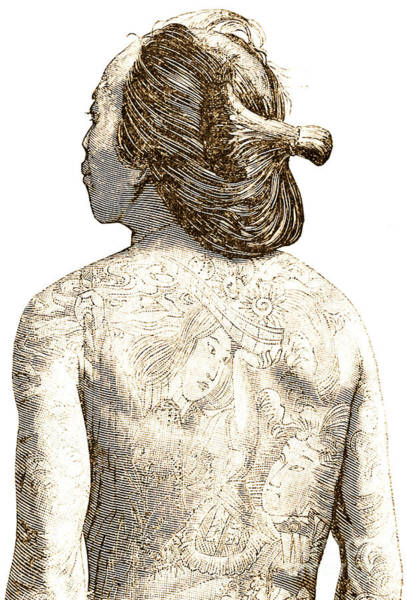 Tattoo Drawing - Man With Traditional Japanese Irezumi Tattoos by Japanese School