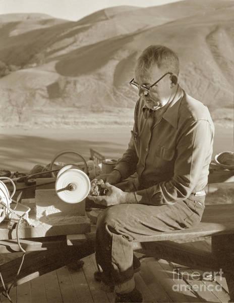 Photograph - Man Working On A Piece Of Botryoidal Jade From The Big Sur Coast by California Views Archives Mr Pat Hathaway Archives