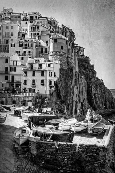 Photograph - Manarola Boats Cinque Terre Italy Bw by Joan Carroll