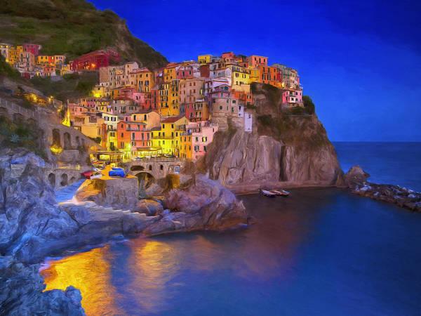 Sicily Painting - Manarola By Moonlight by Dominic Piperata