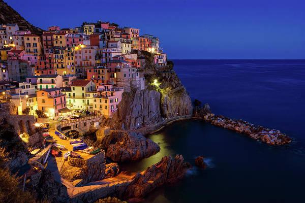 Photograph - Manarola Cinque Terre Italy Nightfall by Joan Carroll