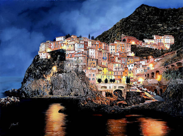 Wall Art - Painting - Manarola Di Notte by Guido Borelli