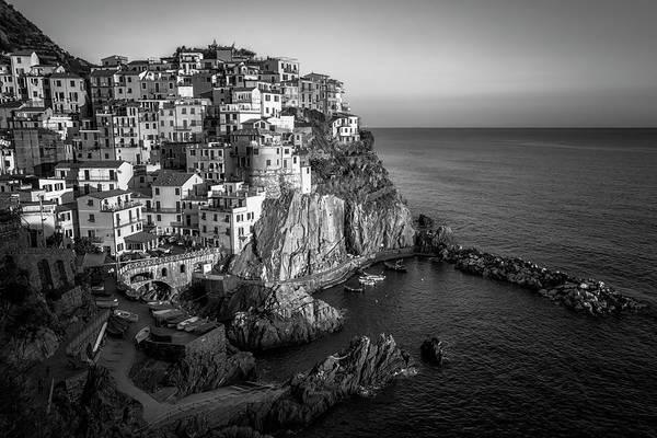 Photograph - Manarola Dusk Cinque Terre Italy Bw by Joan Carroll