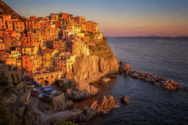 Photograph - Manarola Dusk Cinque Terre Italy Painterly by Joan Carroll