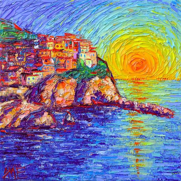 Painting - Manarola Magical Sunset Cinque Terre Italy Modern Impressionism Impasto Knife Oil Ana Maria Edulescu by Ana Maria Edulescu