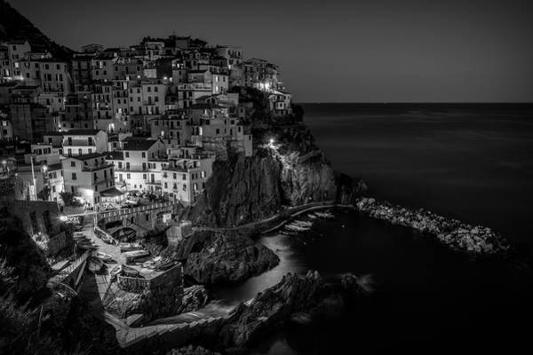 Wall Art - Photograph - Manarola Night Cinque Terre Italy Bw by Joan Carroll