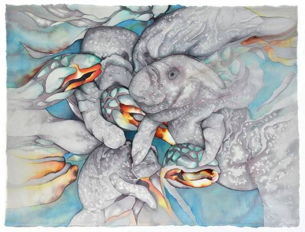 Wall Art - Painting - Manatee Party by Liduine Bekman
