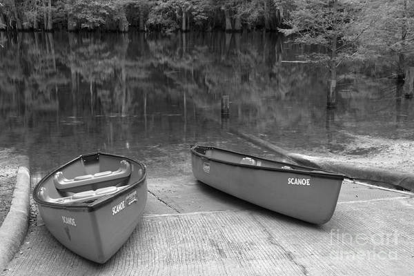 Photograph - Manatee Springs Black And White Boat Launch by Adam Jewell