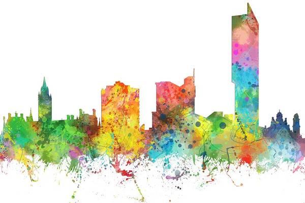Manchester Digital Art - Manchester City Skyline by Marlene Watson